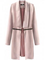 Dámsky dlhý semišový plášť G780, púdrovo ružový