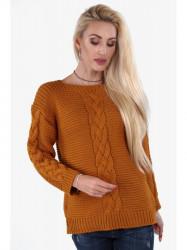 Dámsky horčicový sveter so vzorom 0235