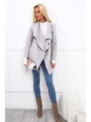 Dámsky krátky prechodný kabát 17420, svetlo sivý