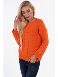 Dámsky oranžový sveter so vzorom 0235