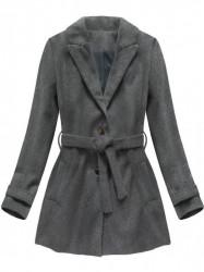 Dámsky prechodný kabát 18808, tmavo sivý