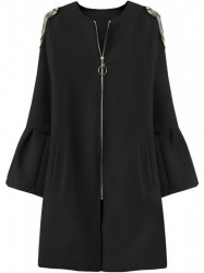 Dámsky prechodný kabát s rozšírenými rukávmi 18151, čierny
