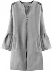 Dámsky prechodný kabát s rozšírenými rukávmi 18151, sivý