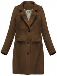 Dámsky prechodný vlnený kabát 23108, hnedý