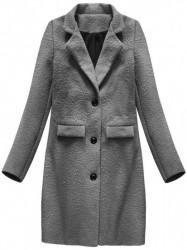 Dámsky prechodný vlnený kabát 23108, tmavo sivý