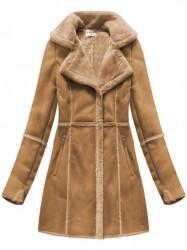 Dámsky semišový kabát S-1802, hnedý