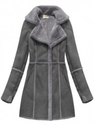 Dámsky semišový kabát S-1802, sivý