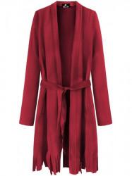 Dámsky semišový plášť so strapcami G809, červený