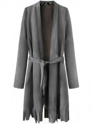 Dámsky semišový plášť so strapcami G809, tmavo sivý