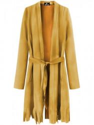 Dámsky semišový plášť so strapcami G809, žltý