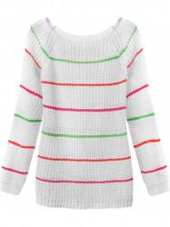Dámsky sveter s pruhmi 275ART, biely