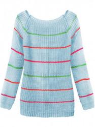 Dámsky sveter s pruhmi 275ART, modrý