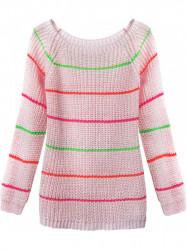 Dámsky sveter s pruhmi 275ART, ružový