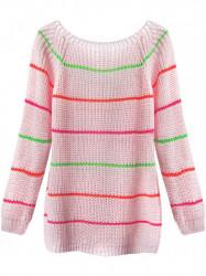 Dámsky sveter s pruhmi 275ART, ružový #1