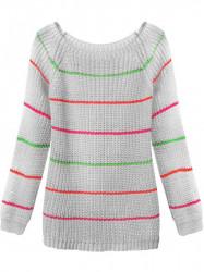 Dámsky sveter s pruhmi 275ART, sivý