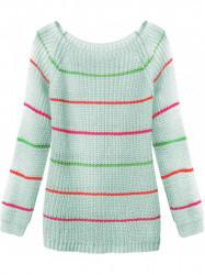 Dámsky sveter s pruhmi 275ART, zelený