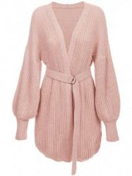 Dámsky sveter s viazaním v páse 123ART, ružový
