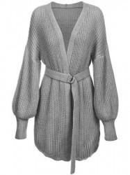 Dámsky sveter s viazaním v páse 123ART, sivý