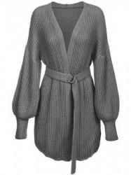 Dámsky sveter s viazaním v páse 123ART, tmavo sivý