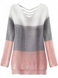 Dámsky sveter s výrezmi na chrbte 224ART, biely/sivý