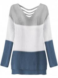 Dámsky sveter s výrezmi na chrbte 224ART, sivý/biely