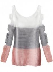 Dámsky sveter s výrezmi na rukávoch 228ART, biely/sivý