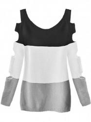 Dámsky sveter s výrezmi na rukávoch 228ART, čierny/biely