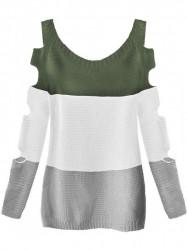 Dámsky sveter s výrezmi na rukávoch 228ART, khaki/biely
