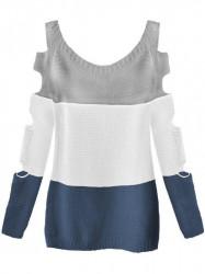 Dámsky sveter s výrezmi na rukávoch 228ART, sivý/biely