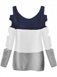 Dámsky sveter s výrezmi na rukávoch 228ART, tmavo modrý/biely