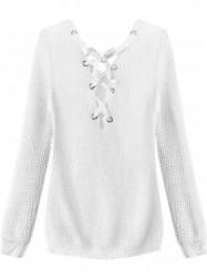 Dámsky sveter so šnurovaním 226ART, biely #1