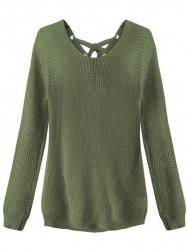 Dámsky sveter so šnurovaním 226ART, khaki