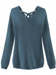 Dámsky sveter so šnurovaním 226ART, modrý