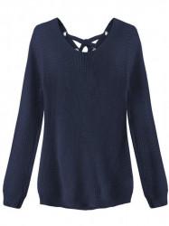 Dámsky sveter so šnurovaním 226ART, tmavo modrý