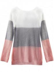 Dámsky sveter so stuhou na chrbte 237ART, biely/sivý