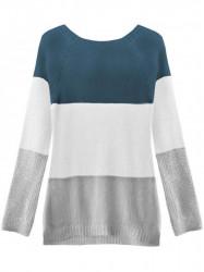 Dámsky sveter so stuhou na chrbte 237ART, modrý/biely