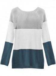 Dámsky sveter so stuhou na chrbte 237ART, sivý/biely