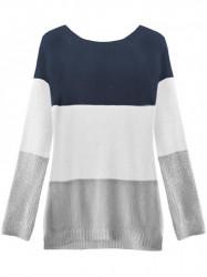 Dámsky sveter so stuhou na chrbte 237ART, tmavo modrý/biely