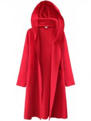 Dámsky tenký plášť s kapucňou 274ART, červený