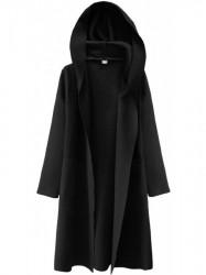 Dámsky tenký plášť s kapucňou 274ART, čierny