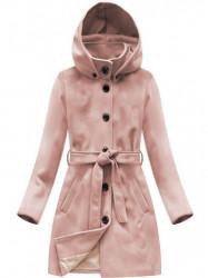 Dámsky vlnený prechodný kabát s kapucňou 6798, ružový