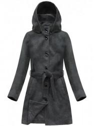 Dámsky vlnený prechodný kabát s kapucňou 6798, tmavo sivý