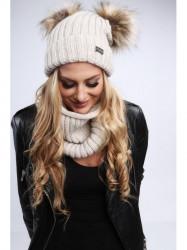Dámsky zimný set čiapka + šál C18, béžový
