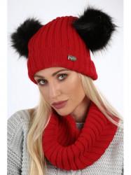 Dámsky zimný set čiapka + šál C18, červený