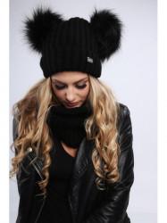 Dámsky zimný set čiapka + šál C18, čierny