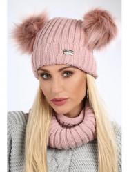 Dámsky zimný set čiapka + šál C18, púdrový