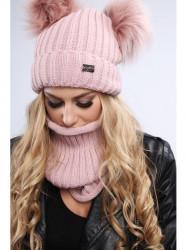 Dámsky zimný set čiapka + šál C18, ružový