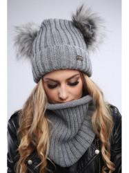 Dámsky zimný set čiapka + šál C18, svetlo sivý