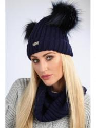 Dámsky zimný set čiapka + šál C18, tmavo modrý