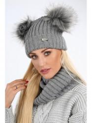 Dámsky zimný set čiapka + šál C18, tmavo sivý